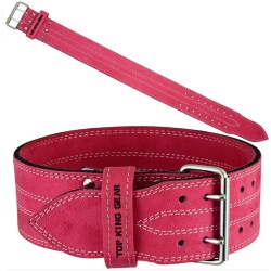 Pink Power Weight Lifting Training Leather Belt