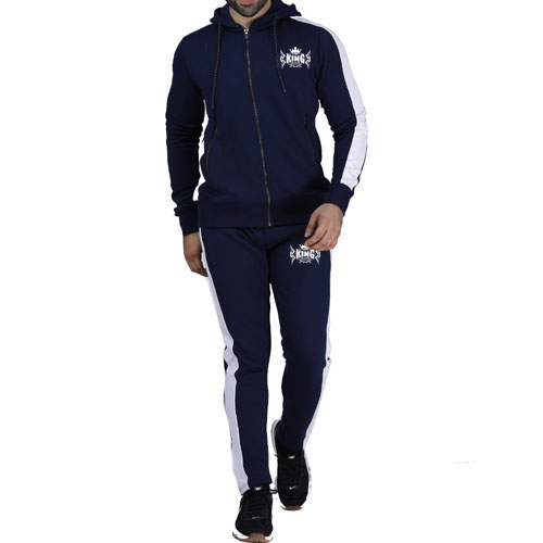 Navy Blue Panel Tracksuit:-